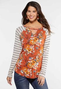 Plus Size Floral Stripe Cutout Top