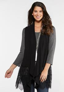Plus Size Lace Trim Knit Vest