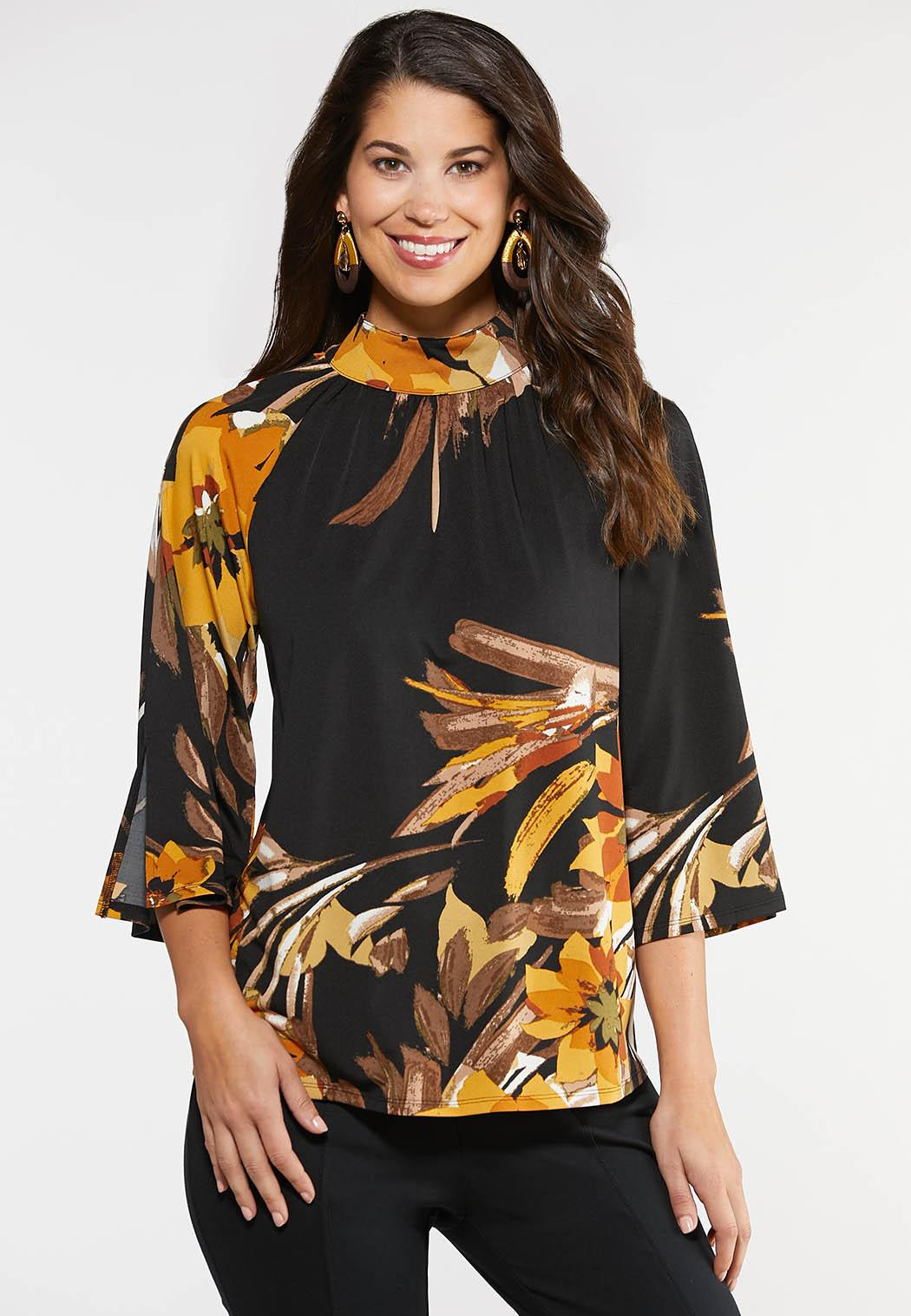 Plus Size Floral Mock Neck Top