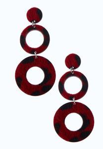 Fuzzy Red Leopard Earrings