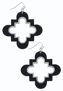 Medallion Faux Leather Earrings