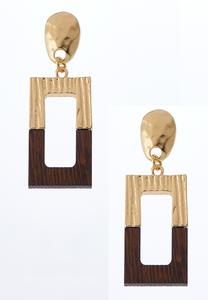 Half And Half Square Earrings