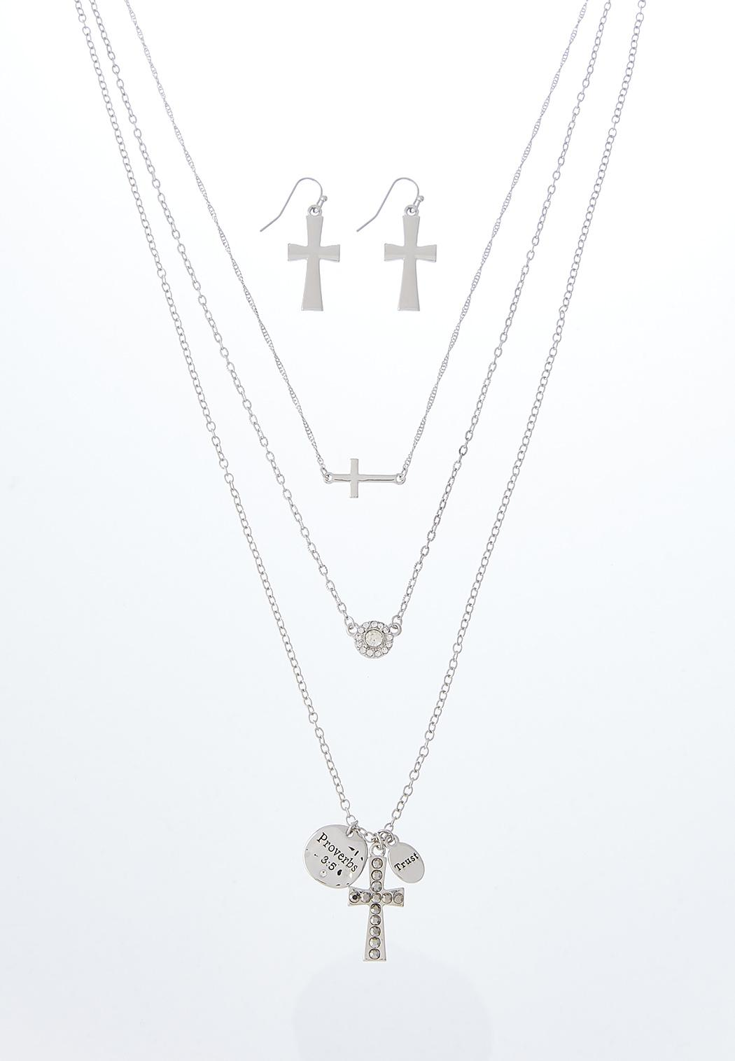 Layered Inspirational Necklace And Earring Set