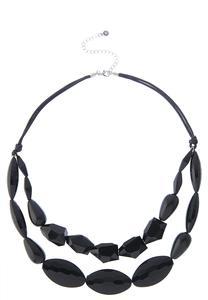 Black Bead Cord Necklace