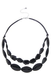 Black Bead Cord Necklace