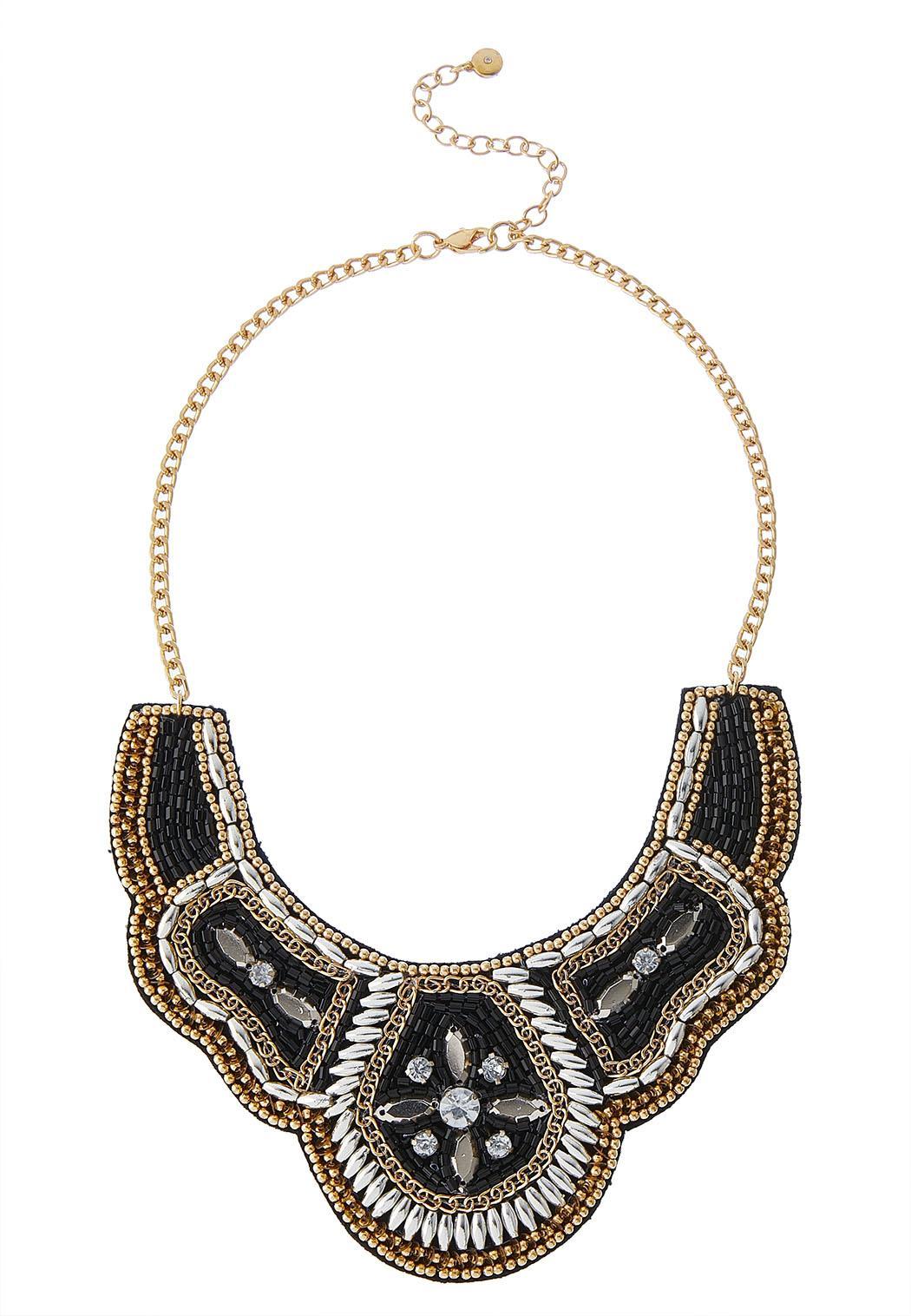 Neutral Bead Bib Necklace