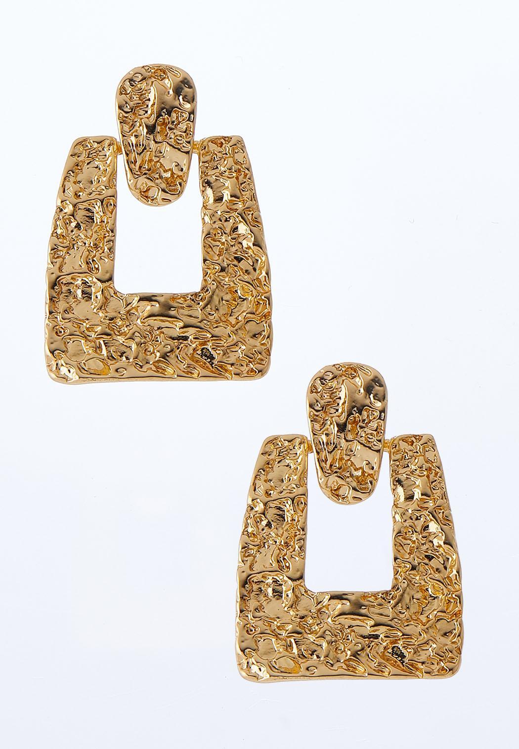 Gold Textured Door Knocker Earrings