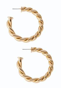 Chunky Twisted Gold Hoop Earrings