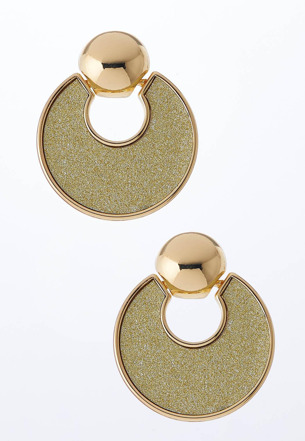 Gold Glittery Door Knocker Earrings