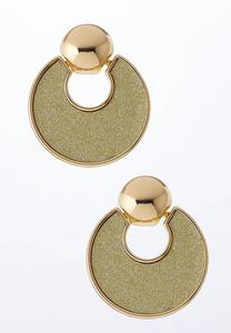 Gold Glittery Door Knocker Earrings