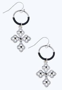 Dangling Corded Cross Earrings