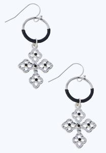 Dangling Corded Cross Earrings
