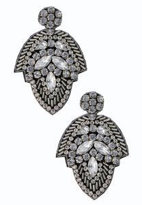 Contrast Bead Fabric Back Earrings