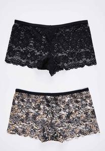 Plus Size Lace Boy Short Panty Set