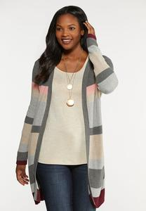 Plus Size Striped Shaker Cardigan