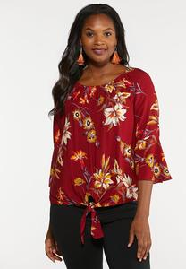 Plus Size Floral Harvest Off Shoulder Top