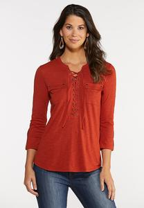 Lace Up Pocket Top