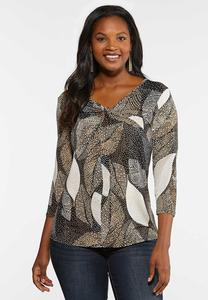 Plus Size Puff Dot Draped Top