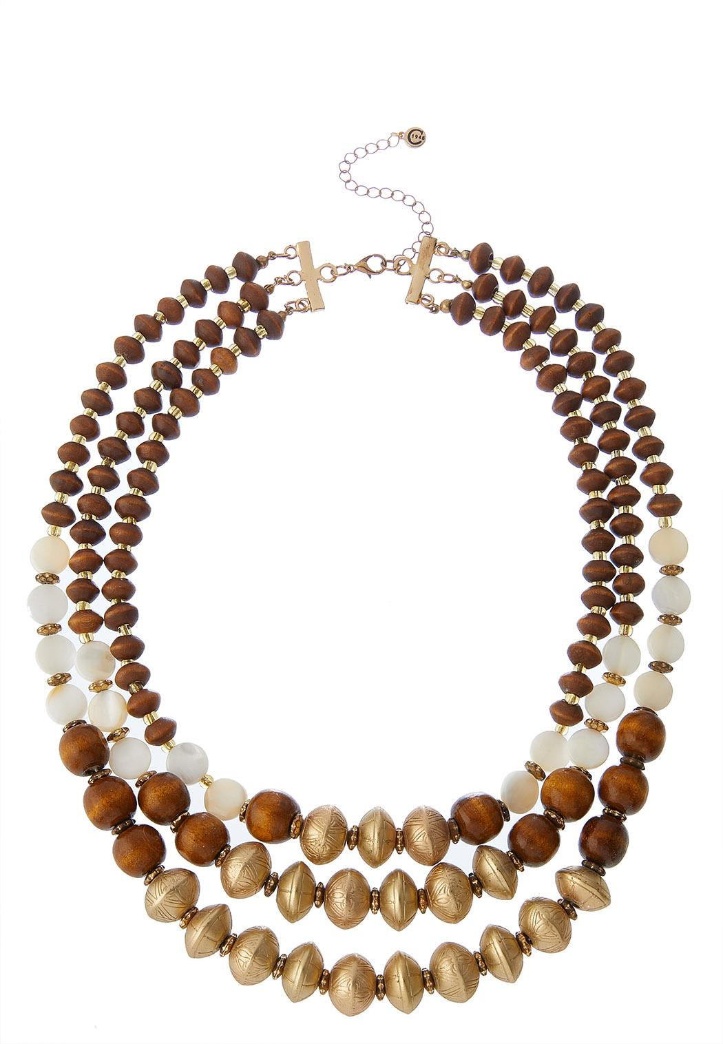 Layered Wood Bead Necklace