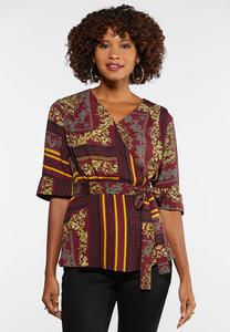 Plus Size Wine Status Print Top