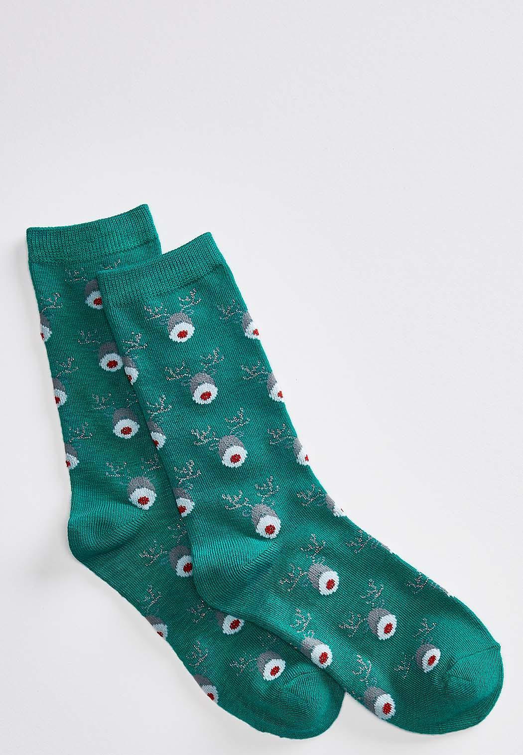 Glitter Nose Rudolph Socks