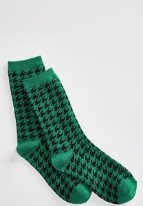 Green Houndstooth Socks