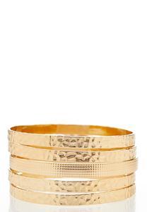 Hammered Gold Bangle Bracelet Set