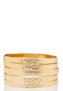 Hammered Gold Bangle Bracelet Set