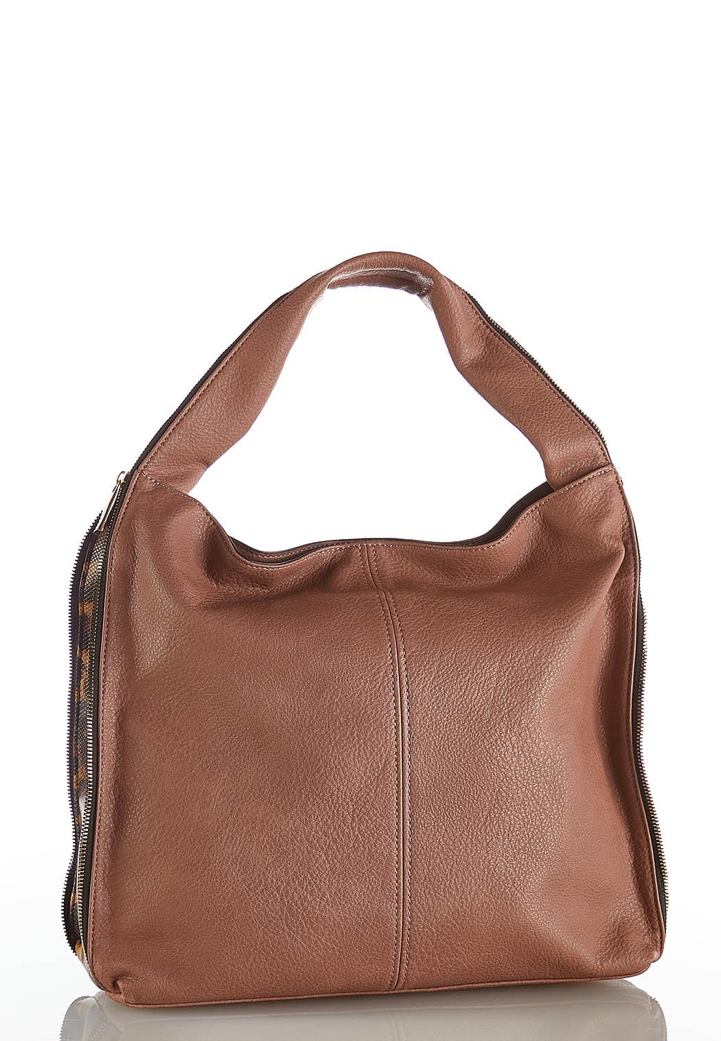 Zippered Leopard Side Hobo Handbag