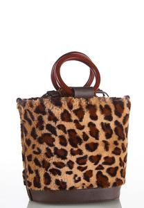 Leopard Faux Fur Bucket Bag