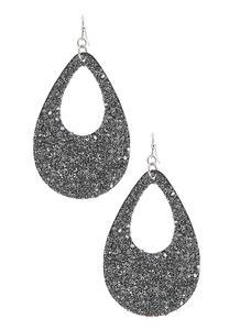 Glittery Faux Leather Earrings