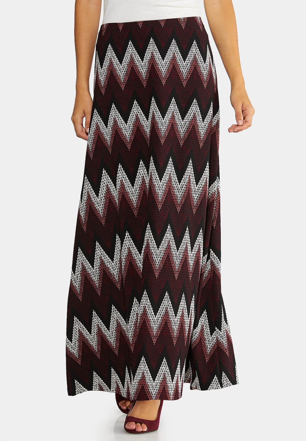 Plus Size Puff Chevron Maxi Skirt Maxi Cato Fashions