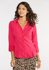 Plus Size Button Down Pleated Shirt