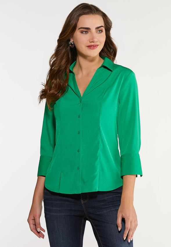 Plus Size Button Down Pleated Shirt Shirts & Amp ; Blouses Cato Fashions