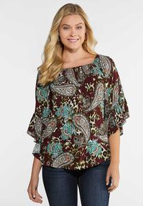 Plus Size Ruffled Animal Paisley Top