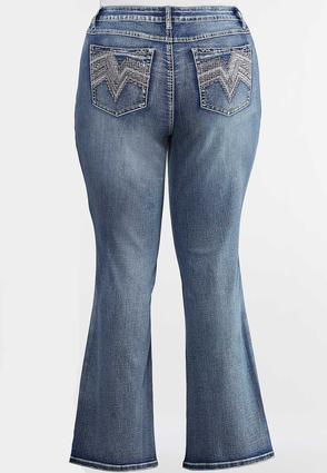 Plus Size Chevron Bling Bootcut Jeans