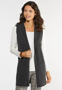 Plus Size Hooded Sweater Vest