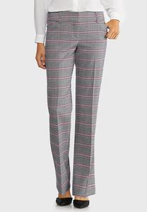 Petite Pink Plaid Trousers