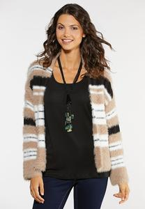 Plus Size Yarn Striped Cardigan