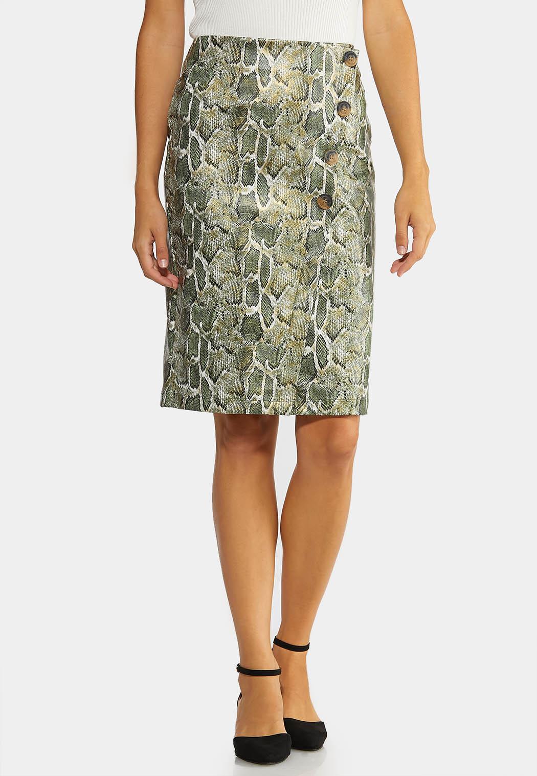 Green Snake Pencil Skirt