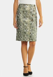 Green Snake Pencil Skirt