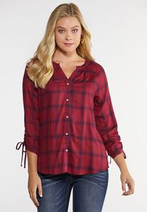 Plus Size Plaid Scrunch Sleeve Top