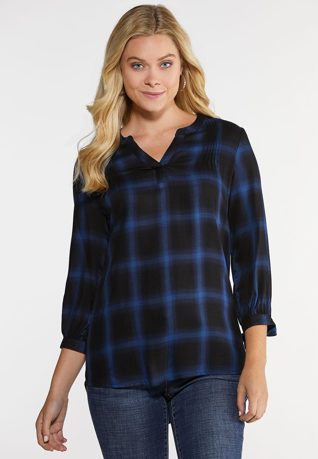 Plus Size Black And Blue Plaid Top