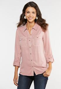 Plus Size Washed Button Down Shirt