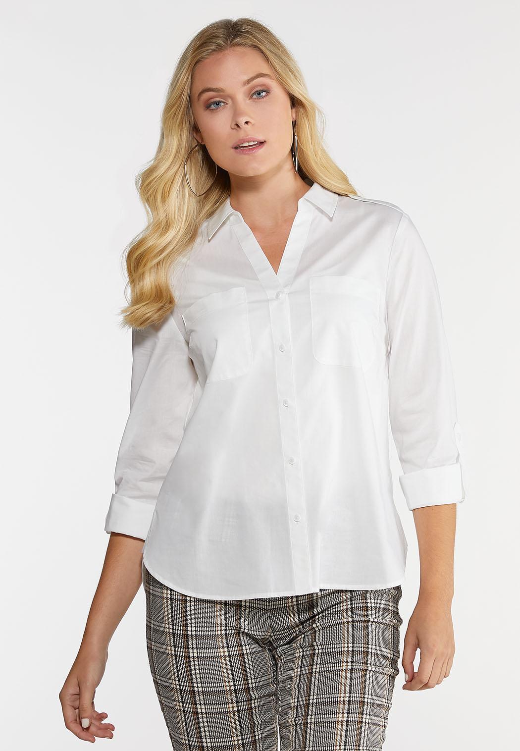Plus Size White Button Down Shirt
