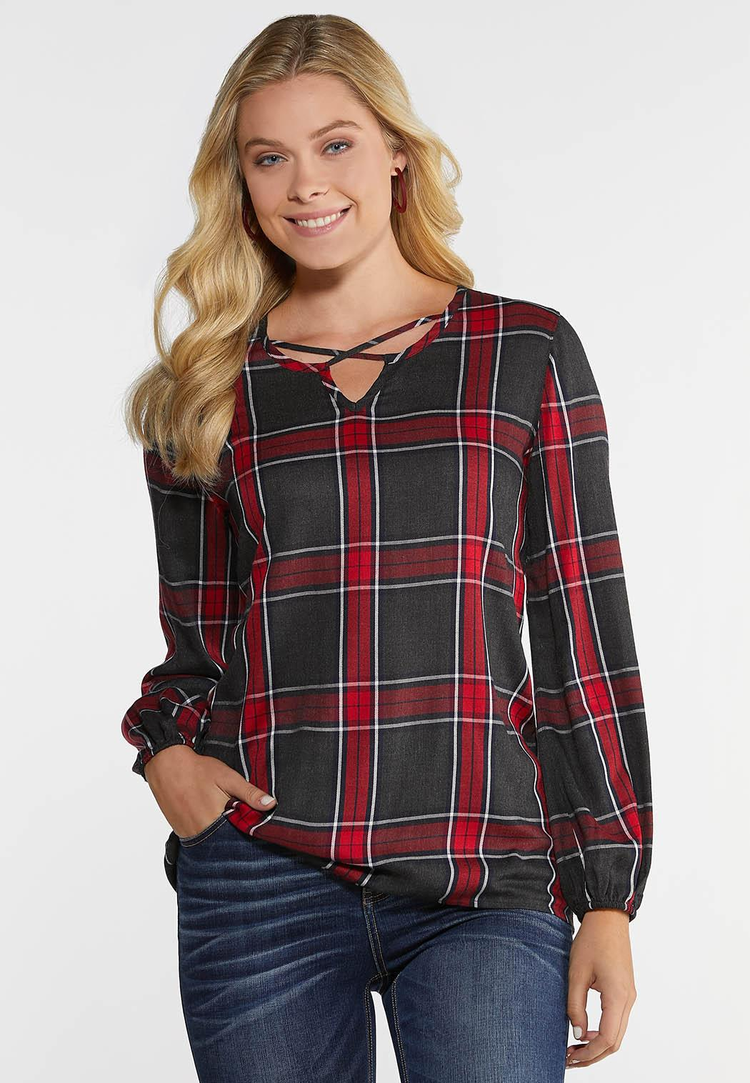 Plus Size Red Criss Cross Plaid Top