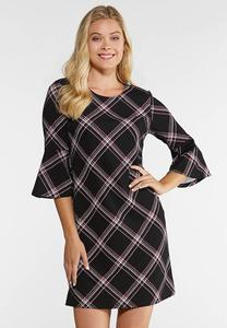 Plus Size Patterned Bell Sleeve Dress