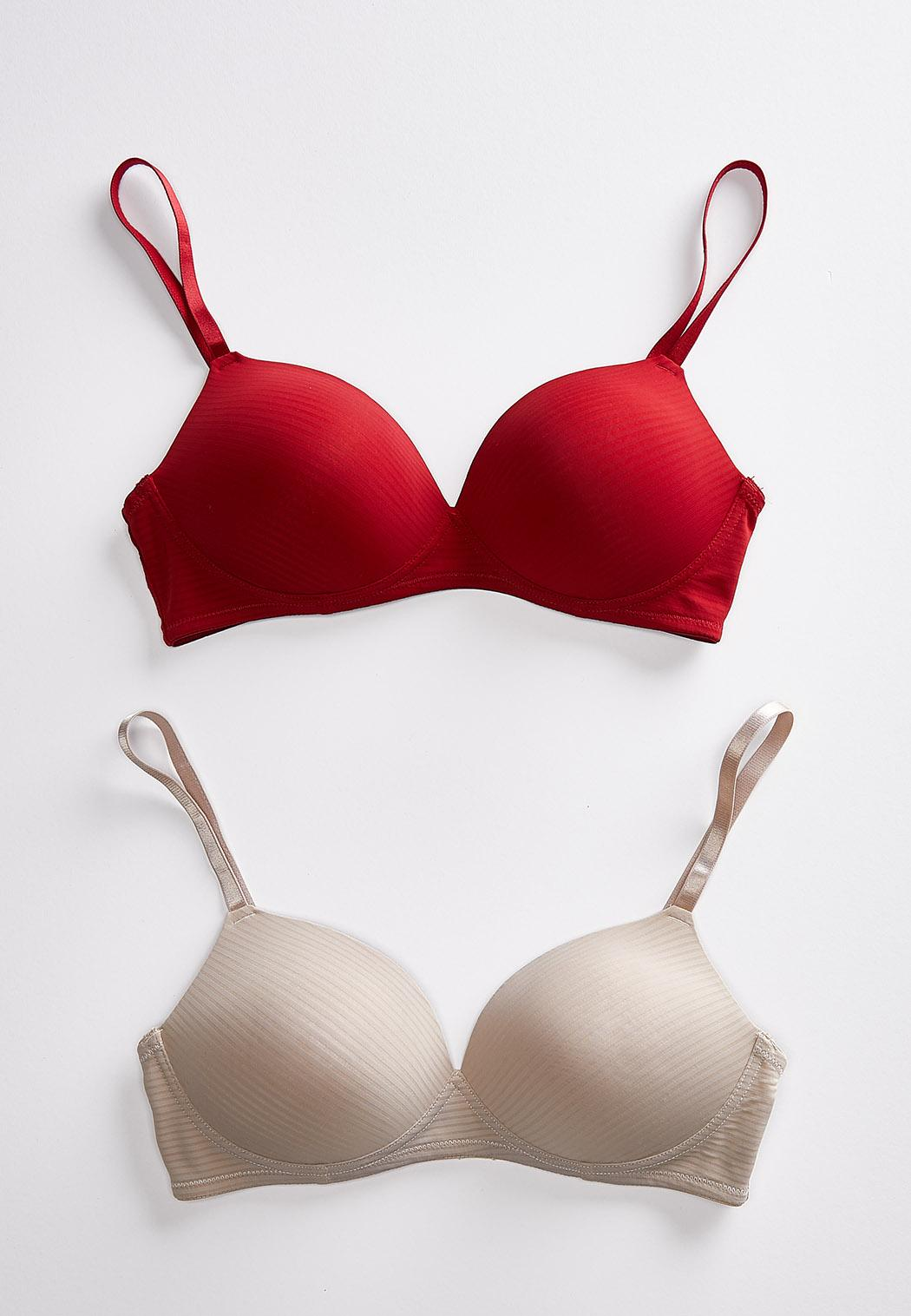 Plus Size Shadow Stripe Wire-Free Bra Set