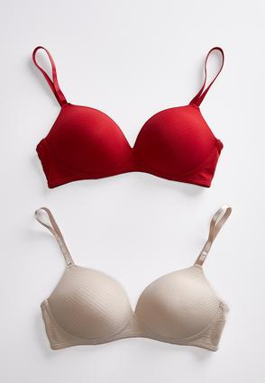 Plus Size Shadow Stripe Wire- Free Bra Set