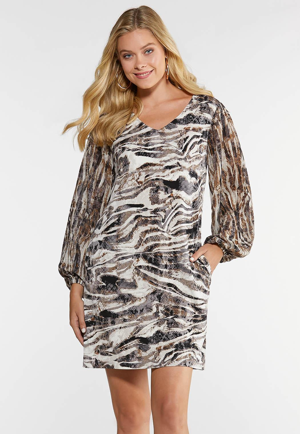 Plus Size Zebra Shift Dress